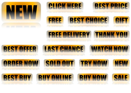 Set of 18 Decorative Buttons With General Eshop Messages  Click Here, Best Price, Free, Best Choice, Gift, Free Delivery, Thank You, Best Offer, Last Chance, Watch Now, Order Now Sold Out, Try Now, New, Best Buy, Buy Online, Buy Now, Sale  Included EPS10  Stock Vector - 20196321