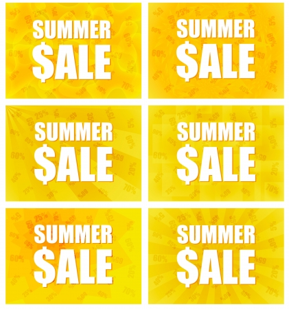 Summer Sale - Information Message For Customers With Six Variants Of Abstract Backgrounds In Yellow And Orange Colors