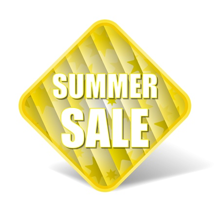 Summer Sale - Information Message For Customers With Nice Square Background Contain Plastic Stripes With Suns In Yellow Color Banco de Imagens