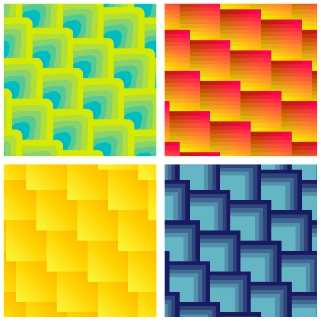Collection Of Four Seamless Colorful Square Patterns.