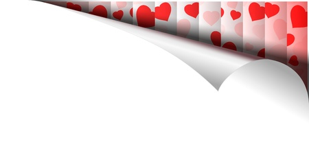 White Paper Page With Red Hearts Pattern In thin White Frame In Curl.