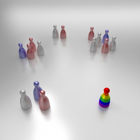 Colored Figures Showing Discrimination And Isolation Of Gays photo