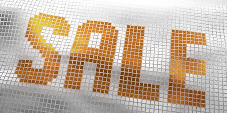 Sale Lettering Composed Of Orange And White Glossy Squares