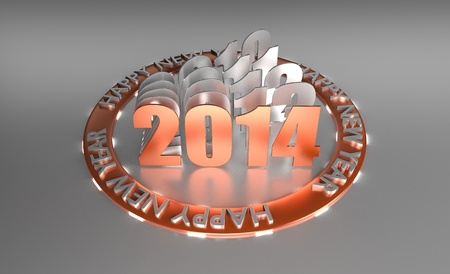 3D Rendered Orange Glossy Wish Happy New Year 2014 With History If Last Years In Circle