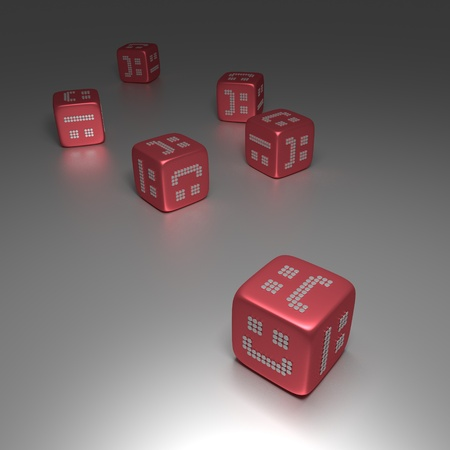 3D Red Glossy Dices With Random Smilies Symbol