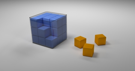 Incomplete Whole In Glass Box Composed Of Many Blue Cubes And Three Orange Cubes Out Of Box photo