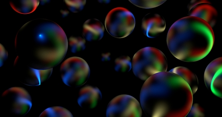 3D Abstract Glossy Spheres With Rainbow Light Rays Reflections In Dark