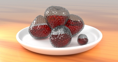 Rendered 3D Abstract Glass Strawberries With Juice Inside Them On Porcelain Plate On Wooden Table