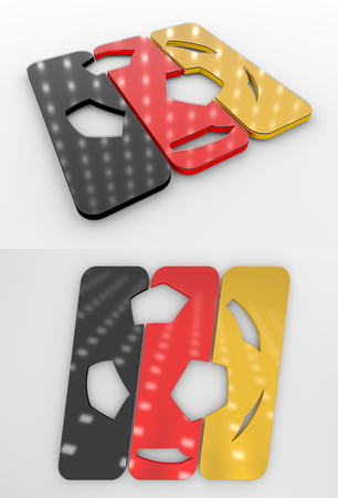 Set Of Two 3D Rendered Glossy Football Symbol In The German National Colors