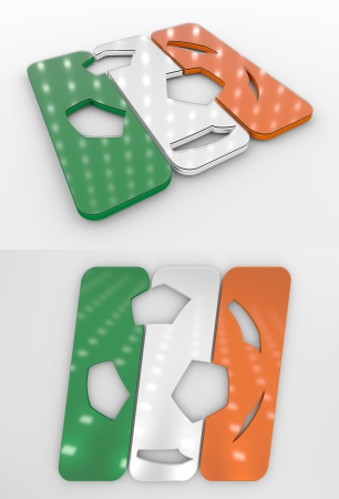 Set Of Two 3D Rendered Glossy Football Symbol In The Irish National Colors Banco de Imagens