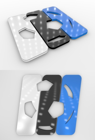 Set Of Two 3D Rendered Glossy Football Symbol In The Estonian National Colors