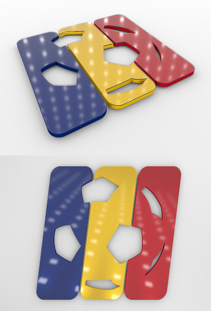 Set Of Two 3D Rendered Glossy Football Symbol In The Romanian National Colors