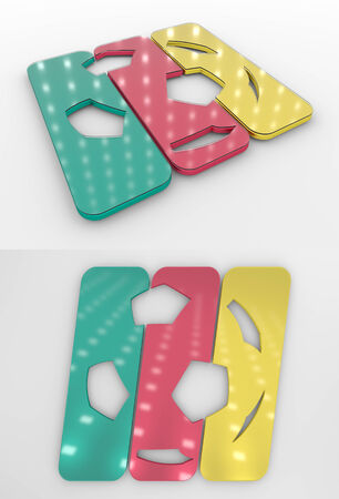 Set Of Two 3D Rendered Glossy Football Symbol In The Cameroon National Colors