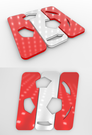 Set Of Two 3D Rendered Glossy Football Symbol In The Canadian National Colors Banco de Imagens