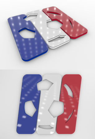 Set Of Two 3D Rendered Glossy Football Symbol In The Dutch National Colors Banco de Imagens