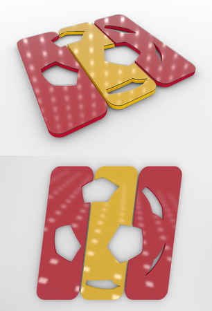 Set Of Two 3D Rendered Glossy Football Symbol In The Spanish National Colors Banco de Imagens
