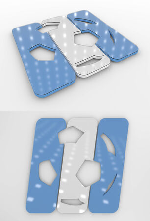 Set Of Two 3D Rendered Glossy Football Symbol In The Argentine National Colors Banco de Imagens