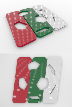 Set Of Two 3D Rendered Glossy Football Symbol In The Bulgarian National Colors