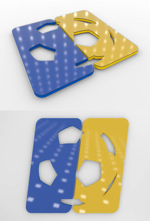Set Of Two 3D Rendered Glossy Football Symbol In The Ukrainian National Colors