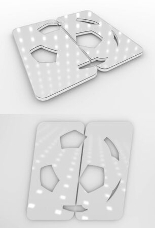 Set Of Two 3D Rendered Glossy Football Symbol White Colourless Template