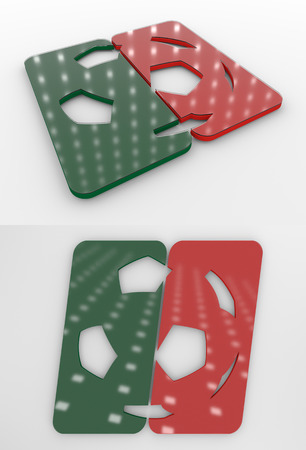 Set Of Two 3D Rendered Glossy Football Symbol In The Portugal National Colors