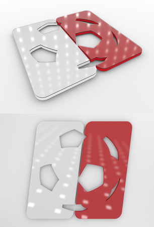 Set Of Two 3D Rendered Glossy Football Symbol In The Polish National Colors