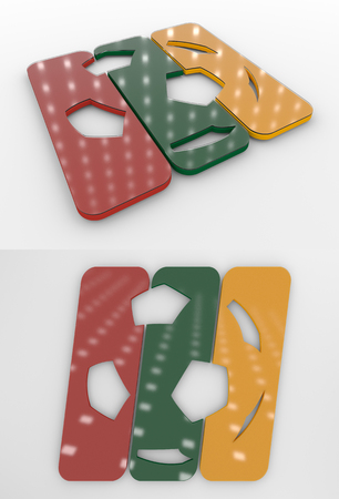 Set Of Two 3D Rendered Glossy Football Symbol In The Lithuanian National Colors