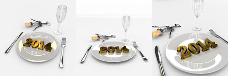 Set Of Humorous Abstract 3D Golden Text 2013 New Year 2014 On The Plate With Fork And Spoon, Glass And Cork Opener- Good Taste