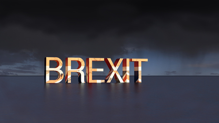 Brexit in the middle of nowhere. Illustration 3D