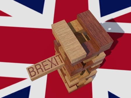 3D illustration. Wooden toy brexit unstable over union jack flag