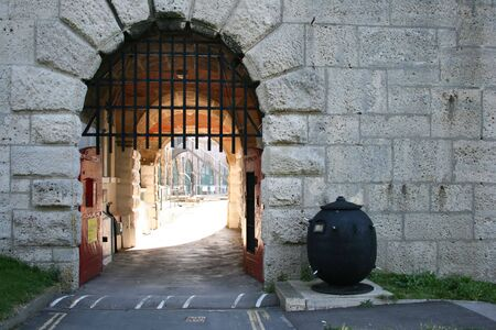 portcullis: the enterance to a stone fort Stock Photo