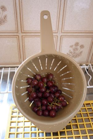 the draining: Washed grapes draining Stock Photo