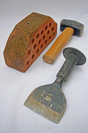 bolster: Hammer, bolster and a brick.