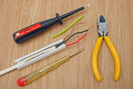 Electrical wiring and tools. photo