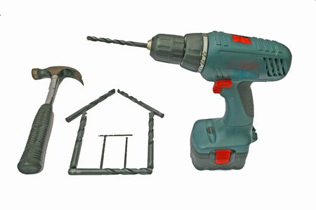 Drill bit house and tools Stock Photo - 6098985