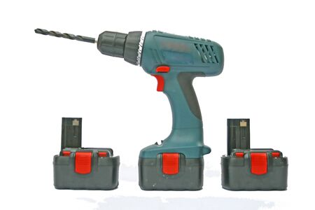 Cordless drill and bit with spare batteries. Stock Photo - 6098988