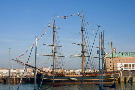 tall ship: Tall ship Bounty in Weymouth harbour UK.