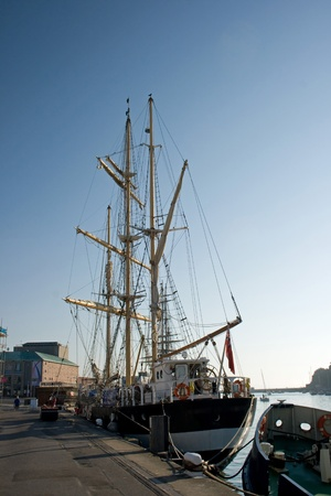 Tall ship in Weymouth harbour UK