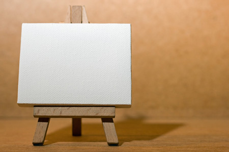 blank canvas and easel