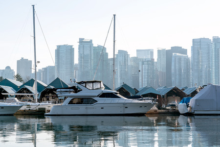Stanley Park Yacht Club with View of Downtown Vancouver - British Columbia, Canada