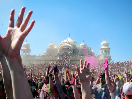 Happy Crowd Celebrating at the Holi Festival of Colors in Spanish Fork, Utah