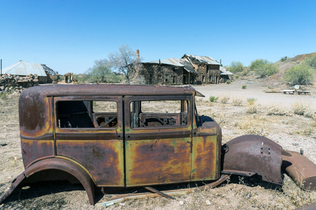 Arizona Ghost Town Vulture City - Abandoned Building & Rusty Old Car
