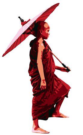 Novice Buddhist Monk Carrying Umbrella Illustration