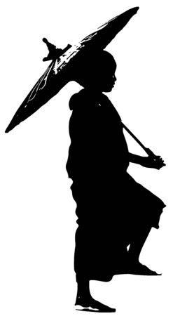 Young Buddhist Monk Carrying Umbrella, Black and White Silhouette