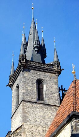 tyn: Tyn church tower, Prague Stock Photo