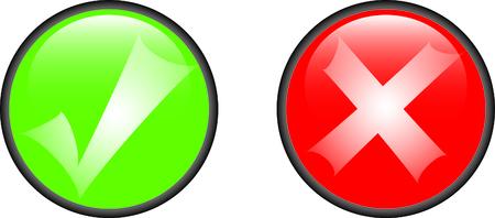 tick and cross glossy symbols Stock Vector - 5913144