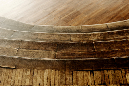 Interesting pattern created of a wooden stairs in the antique building  Banco de Imagens