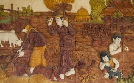 Thai tradition Sculpture farmer art Stock Photo - 17380210