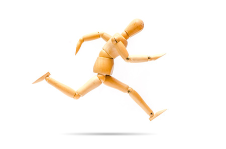 running with high speed, rapid moving Wooden figure