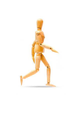 Walking forward, Isolated Wooden figure walk